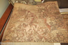"""Vintage Belgium Tapestry 28"""" X 31"""" With Brass Rods For Wall Hanging"""