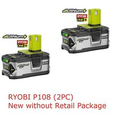2PC Ryobi P108 Lithium Battery 18V 18 Volt One+ High Capacity W/Fuel Gauge