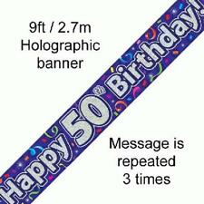 50TH anniversaire violet holographique happy birthday party banner 2.7M (9FT) long