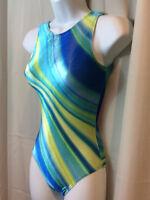 GK ELITE Green Blue Yellow Striped Velour Gymnastics Leotard Adult Extra Small