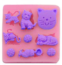Cat Kitten Assortment 9 Cavity Silicone Mold for Fondant Cake Decorating