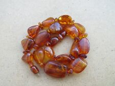 Amber necklace jewelry natural genue beads raw stone old ball 53 g. n/r