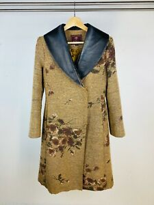 Mulberry Vintage 90's Brown Floral Pattern Wool Tailored Leather Trim Coat UK 10