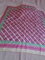 Vintage Echo Silk Blend Plaid Hand Rolled Scarf Green, Pink and White