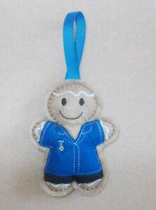 Nurse / Carer Gingerbread (Royal Blue) Felt Embroidered decoration/ornament