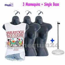 3 pcs Female Torso Mannequins +1 Stand + 3 Hangers -Women Dress Forms
