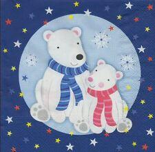 2 Serviettes en papier Bébé et maman Ours Polaire - Paper Napkins bears