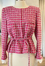 CHANEL Pink Tweed Jacket EU 42