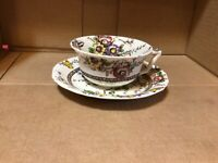 """ANTIQUE ALFRED MEAKIN FLAT CUP & SAUCER """"MEDWAY DECOR"""" FLORAL BUTTERFLY ENGLAND"""