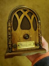 Music Box Radio Cathedral Top Wood Beautiful Piece Wind up plays More