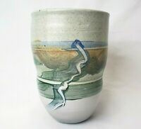 Vintage Studio Art Pottery Vase Hand Painted Abstract Stoneware Planter 8.5""