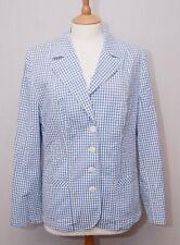 H.Moser women's blue white gingham check smart casual cotton blazer jacket uk 14