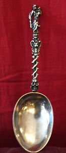 Large Antique Dutch Ornate Silver Spoon
