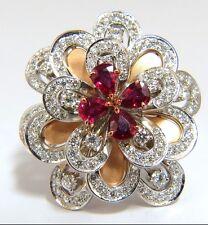 $9500 2.36ct NATURAL RUBY DIAMONDS 4 TIER 3d COCKTAIL PETAL DIAMOND RING 18KT