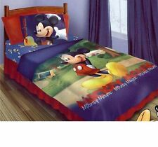 4pc Disney Mickey Mouse Clubhouse Twin Sized Comforter Bed in a Bag Bedding Set