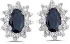 10 Quilates Oro Blanco Ovalado Zafiro & Diamante Pendientes e6410w-09
