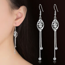 925 Sterling Silver Tassel Flower Ear Drop Long Earrings Women Fashion Jewelry
