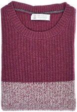 Brunello Cucinelli Sweater Crew Size Medium Burgundy 02SW0399 $2650