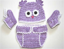 Crochet Baby Boy Girl Owl Hat, Cover diaper & Booties Set NB 0-3 mos Halloween#