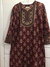 Women Long Lounger Paisley Indian Maxi Dress Embroidered  Aztec Abaya Galabeya