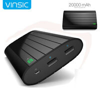 Vinsic 20000mAh Externer Akku USB Ladegerät Power Bank für iPhone Samsung Huawei