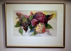 multimedia collage hydrangea Mezzie Wolgin 1993 framed matted
