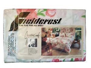 NOS Vintage Full Flat Percale Sheet Fieldcrest Summer Blooms NEW Floral Jeremiah