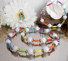 Zilar 3er SET Glasperlen weiß Röhrchen bunt Kette Armband + Ohrhänger