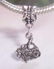 Flower Pocketbook Purse Handbag Dangle Bead fits Silver European Charm Bracelets