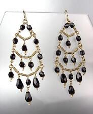 EXQUISITE Black Onyx Crystals Gold Metal Chandelier Dangle Peruvian Earrings
