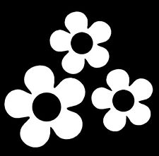 60's Flower Vinyl Decals Stickers for Car or Van (White)
