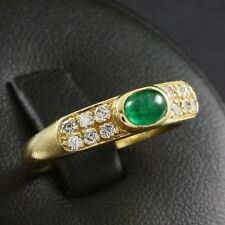 Smaragdcabochon Brillant Ring ca. 1,00 ct. 750/- GG
