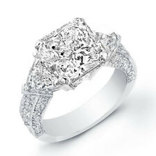 3.20 Ct. Radiant Cut W/ Trillion Cut 3- Stone Diamond Engagement Ring GIA I, SI1
