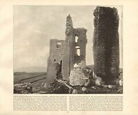 1894 Vittoriano Stampa ~ Corfe Castle Royal Prigione ~ Forti ( Testo