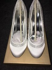 White Satin Womens Bridal Shoes Size 3 New With Box