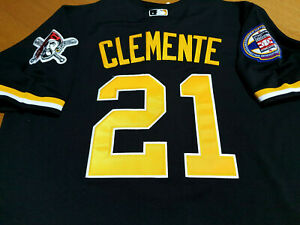 BRAND NEW Black! Pittsburgh Pirates #21 Roberto Clemente HOF Patch sewn Jersey
