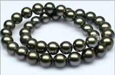 """Huge18""""12-15mm natural Tahitian genuine black perfect round pearl necklace"""