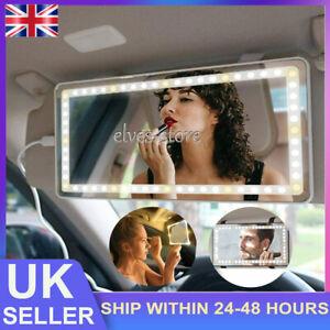 Rechargeable LED Lights Universal Travel Interior Sun Visor Car Makeup Mirror UK