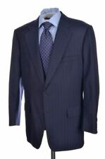 EDWARD SEXTON Savile Row Blue Striped Wool Jacket Pants SUIT Mens - BESPOKE 44 R