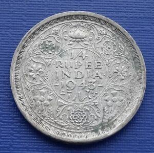 India 1/4 Rupee Coin~1943 King George VI~.500 Silver 2.9g~KM#547 (B)~VF+~#987