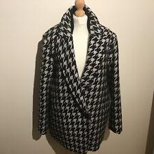 Theory black white large coat jacket 16 18 wool acrylic