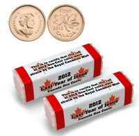2 Rolls of 2012 Canadian Pennies, Last Canadian Cent