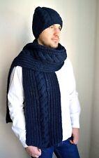 Hand knitted men's alpaca wool hat & scarf set