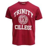 Men T-Shirt Burgundy/White Trinity College Seal Easy Care  machine washed