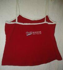 New listing Rare promo Coors Light Maxim Girl Search Red womens Middrift Tank Top Med Shirt