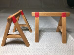 Dollhouse Miniature Artisan Bill Goldsberry Pair Of Saw Horse Stands For Garage