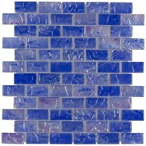 Classic Mini Brick Blue Frosted Glossy Glass Backsplash Mosaic Tile MTO0087
