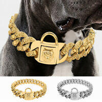 Skull Choke Chain Dog Collar Heavy Large Cuban Link Stainless Steel 17.5-25.5""