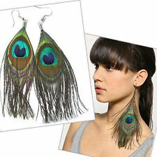 Classical Retro Peacock Feather Dangle Pendant Earring Lady Girl Chandelier