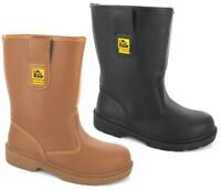 NEW RIGGER LADIES MENS SAFETY BOOT STEEL MIDSOLE TOE CAP LEATHER BLACK TAN BOOTS
